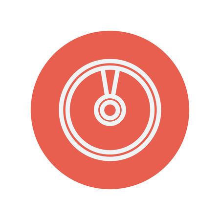 minimalistic: CD or DVD thin line icon for web and mobile minimalistic flat design. Vector white icon inside the red circle. Illustration