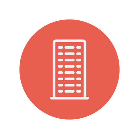 cemented: Building thin line icon for web and mobile minimalistic flat design. Vector white icon inside the red circle.