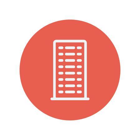 cemented: La construcci�n icono de l�nea delgada para web y dise�o plano m�vil minimalista. Vector icono blanco dentro del c�rculo rojo. Vectores