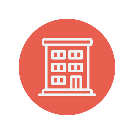 cemented: Edificio residencial icono de l�nea delgada para web y dise�o plano m�vil minimalista. Vector icono blanco dentro del c�rculo rojo.