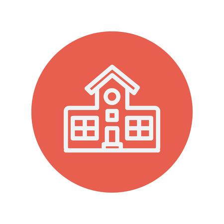 escuela edificio: icono de l�nea delgada edificio escolar para la web y el dise�o minimalista plana m�vil. Vector icono blanco dentro del c�rculo rojo.