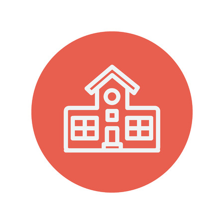 art of building: School building thin line icon for web and mobile minimalistic flat design. Vector white icon inside the red circle. Illustration