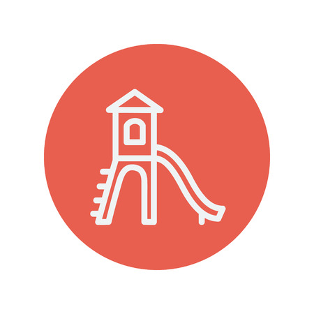 Playhouse with slide thin line icon for web and mobile minimalistic flat design. Vector white icon inside the red circle. Illustration
