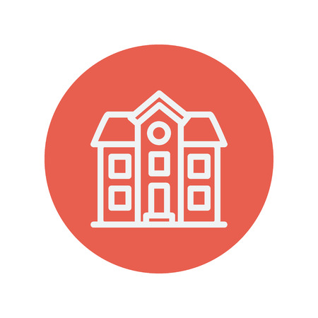 two storey house: Two storey house building thin line icon for web and mobile minimalistic flat design. Vector white icon inside the red circle.