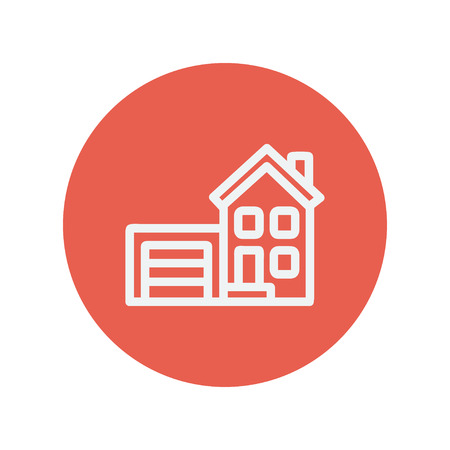 row houses: Home with garage thin line icon for web and mobile minimalistic flat design. Vector white icon inside the red circle.