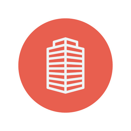 small office: Small office building thin line icon for web and mobile minimalistic flat design. Vector white icon inside the red circle.