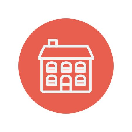 Retro flat house thin line icon for web and mobile minimalistic flat design. Vector white icon inside the red circle.  イラスト・ベクター素材