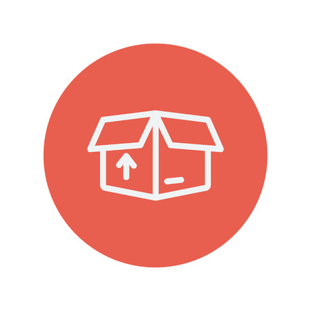 icon red: Box with arrow up inward, incoming, loading thin line icon for web and mobile minimalistic flat design. Vector white icon inside the red circle.
