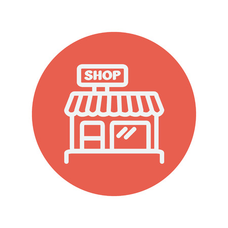 sidewalk cafe: Shop store thin line icon for web and mobile minimalistic flat design. Vector white icon inside the red circle.