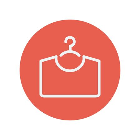 shirt hanger: Shirt on hanger thin line icon for web and mobile minimalistic flat design. Vector white icon inside the red circle. Illustration