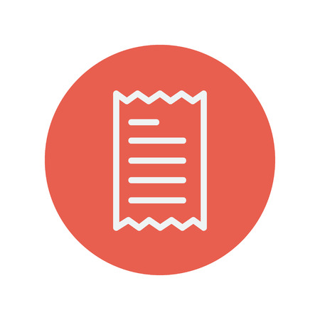 Receipt thin line icon for web and mobile minimalistic flat design. Vector white icon inside the red circle. Иллюстрация