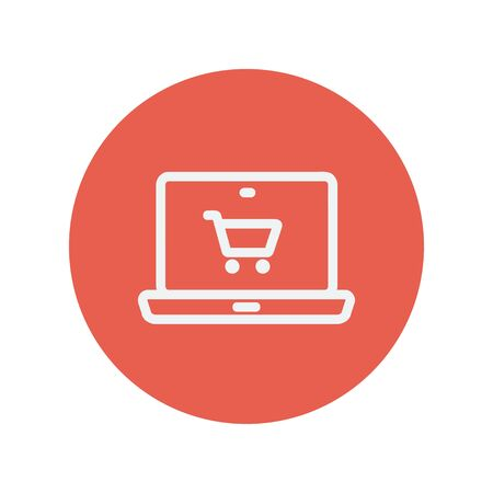 minimalistic: On line shopping thin line icon for web and mobile minimalistic flat design. Vector white icon inside the red circle.