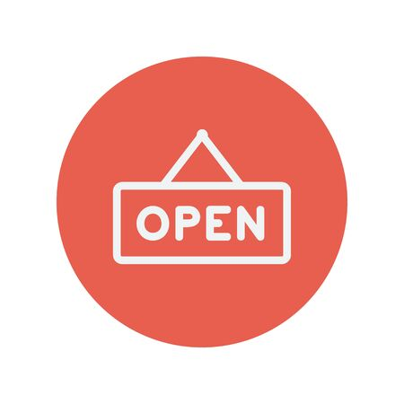 Open sign thin line icon for web and mobile minimalistic flat design. Vector white icon inside the red circle.