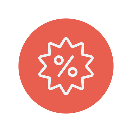 Discount tag thin line icon for web and mobile minimalistic flat design. Vector white icon inside the red circle. Illustration