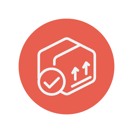Box with validation mark thin line icon for web and mobile minimalistic flat design. Vector white icon inside the red circle. Illustration