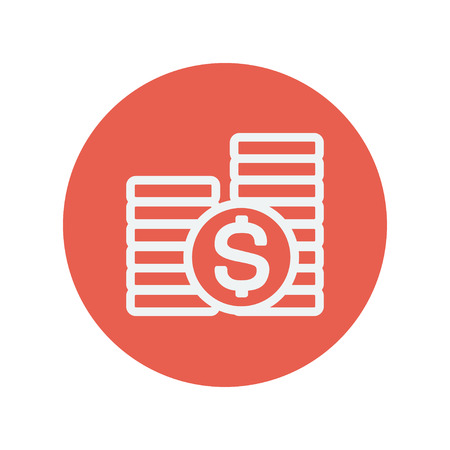 currency glitter: Stack of dollar coin thin line icon for web and mobile minimalistic flat design. Vector white icon inside the red circle. Illustration