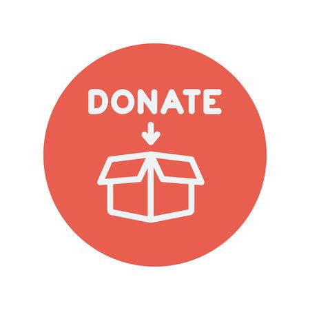 Donatie doos dunne lijn pictogram voor web en mobiele minimalistische platte design. Vector wit icoon in de rode cirkel. Stock Illustratie