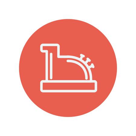 to cash: Caja registradora antigua icono de línea delgada para web y diseño plano móvil minimalista. Vector icono blanco dentro del círculo rojo.