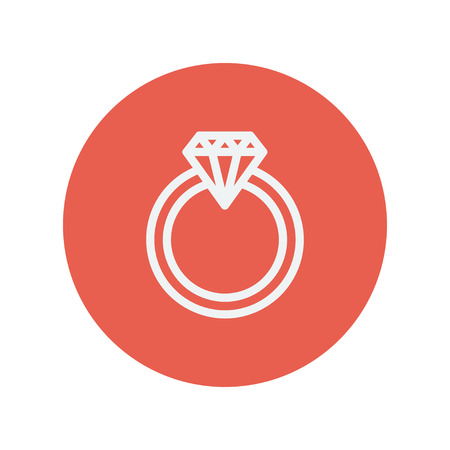 brilliancy: Diamond ring thin line icon for web and mobile minimalistic flat design. Vector white icon inside the red circle. Illustration