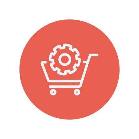 gearing: Shopping cart with gear thin line icon for web and mobile minimalistic flat design. Vector white icon inside the red circle. Illustration