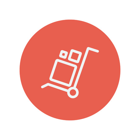 minimalistic: Trolley with boxes thin line icon for web and mobile minimalistic flat design. Vector white icon inside the red circle. Illustration