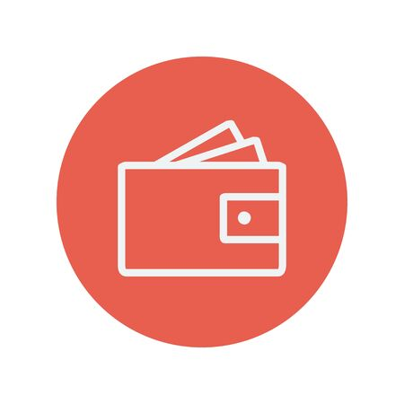 valid: Wallet with money and credit card thin line icon for web and mobile minimalistic flat design. Vector white icon inside the red circle.