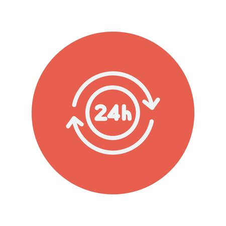24 hr: Convenience service thin line icon for web and mobile minimalistic flat design. Vector white icon inside the red circle. Illustration