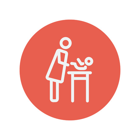 Woman changing the diaper thin line icon for web and mobile minimalistic flat design. Vector white icon inside the red circle Illustration
