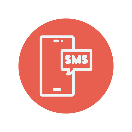 speakerphone: Mobile phone with SMS can receive and send messages thin line icon for web and mobile minimalistic flat design. Vector white icon inside the red circle.