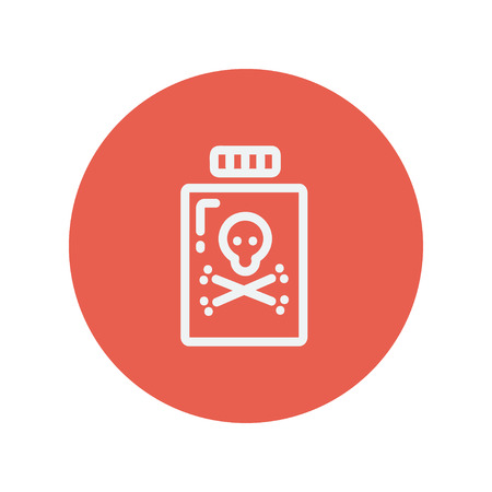 poison bottle: Bottle of poison thin line icon for web and mobile minimalistic flat design. Vector white icon inside the red circle.