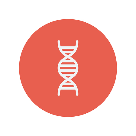 DNA thin line icon for web and mobile minimalistic flat design. Vector white icon inside the red circle. Stock Illustratie