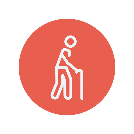 bariatric: Man with cane thin line icon for web and mobile minimalistic flat design. Vector white icon inside the red circle