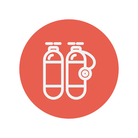 Oxygen tank thin line icon for web and mobile minimalistic flat design. Vector white icon inside the red circle.