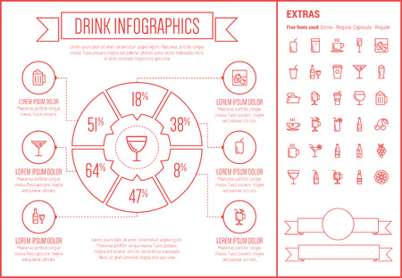 Drink infographic template and elements. The template includes the following set of icons - hot choco, mug of beer, orange joice, cold water, tea and more. Modern minimalistic flat thin line vector design. Beige background with red line elements. 向量圖像