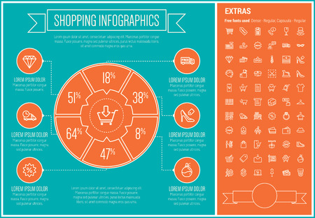 business: Shopping infographic template and elements. The template includes the following set of icons - cash register machine, QR code, barcode, hat, store stall, diamond and more. Modern minimalistic flat thin line vector design. Blue and orange background with w