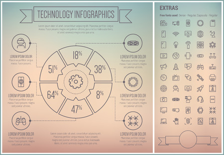 li: Technology infographic template and elements. The template includes the following set of icons - fax machine, game controller, gadget, wifi, television, gear, antenna and more. Modern minimalistic flat thin line vector design. Grey background with grey li