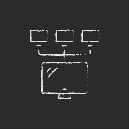 boardroom: Screen with cameras hand drawn in chalk on a blackboard vector white icon on a black background Illustration
