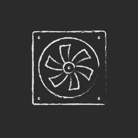 coolant: Computer cooler hand drawn in chalk on a blackboard vector white icon on a black background Illustration