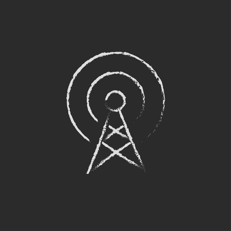 wireless signal: Antenna hand drawn in chalk on a blackboard vector white icon on a black background