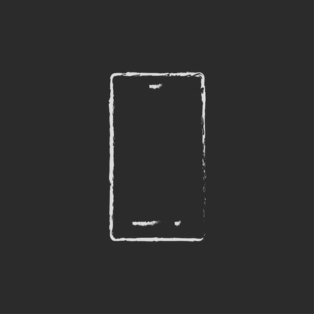smartphone in hand: Smartphone hand drawn in chalk on a blackboard vector white icon on a black background