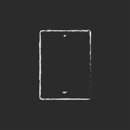 pad: Gadget hand drawn in chalk on a blackboard vector white icon on a black background Illustration