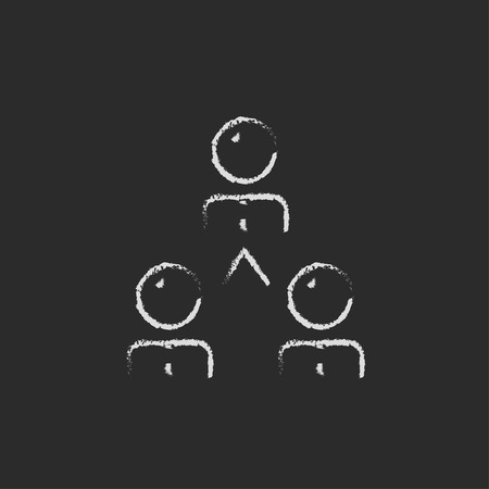 Business team hand drawn in chalk on a blackboard vector white icon on a black background