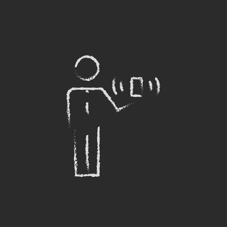 cellphone in hand: Man and wireless signal hand drawn in chalk on a blackboard vector white icon on a black background