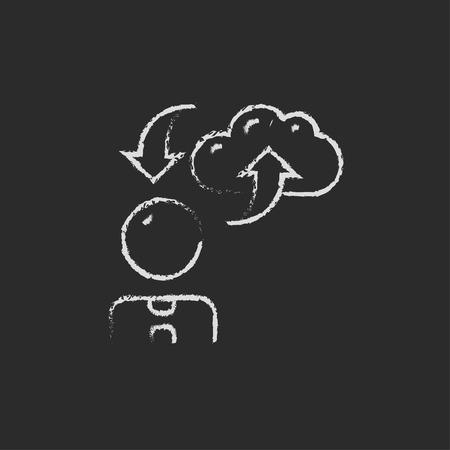 uploading: L'uomo con la nuvola upload e il download di frecce disegnata a mano con il gesso su una lavagna bianco icona di vettore su uno sfondo nero
