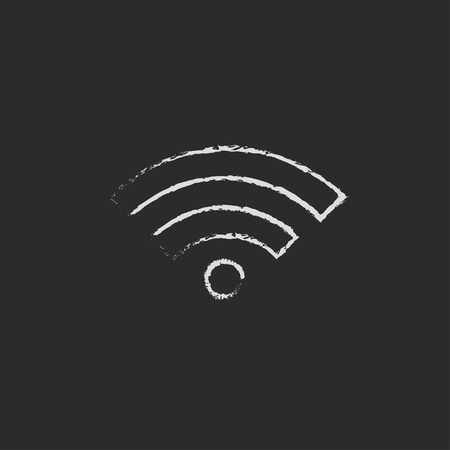wireless signal: Wifi hand drawn in chalk on a blackboard vector white icon on a black background