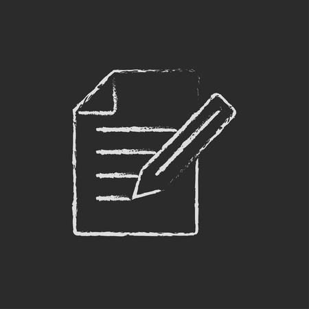 taking notes: Taking note hand drawn in chalk on a blackboard vector white icon on a black background Illustration