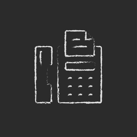 faxger�t: Fax Hand in Kreide auf einer Tafel Vektor-Blatt-Symbol gezeichnet auf einem schwarzen Hintergrund