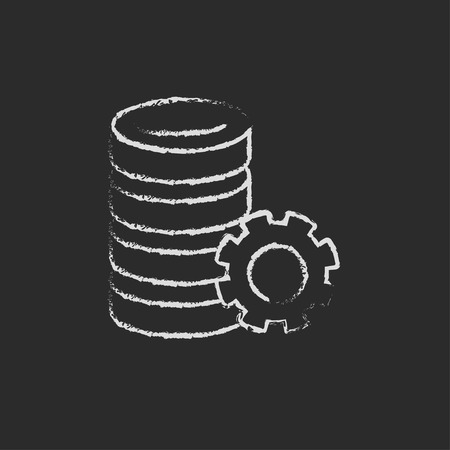 icon vector: Server with gear hand drawn in chalk on a blackboard vector white icon on a black background