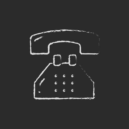 customer service phone: Telephone hand drawn in chalk on a blackboard vector white icon on a black background