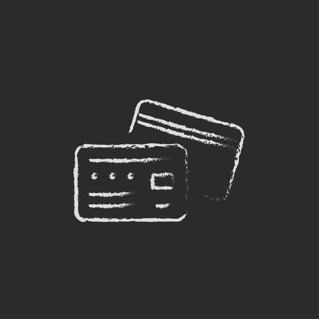 tarjeta de credito: Tarjeta de cr�dito dibujado a mano con tiza en un icono blanco vector de pizarra sobre un fondo negro